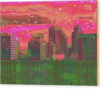 Inner City - Night Falls Wood Print by Wendy J St Christopher