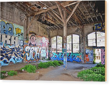 Inside The Old Train Roundhouse At Bayshore Near San Francisco And The Cow Palace II Wood Print by Jim Fitzpatrick