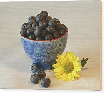 Inspired By Blue Berries Wood Print by Inspired Nature Photography Fine Art Photography