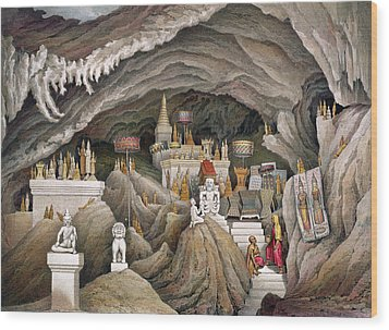 Interior Of The Grotto Of Nam Hou Wood Print by Louis Delaporte