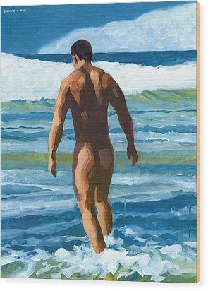 Into The Surf Wood Print by Douglas Simonson