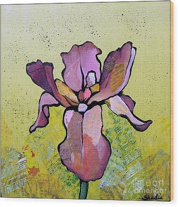 Iris II Wood Print by Shadia Derbyshire
