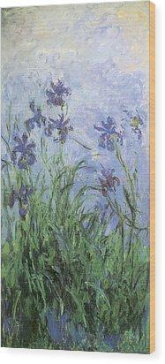 Irises Wood Print by Claude Monet