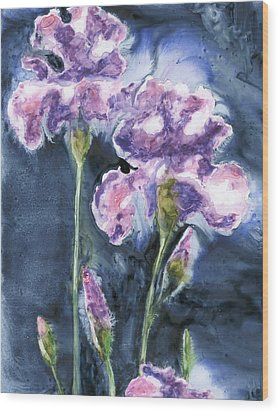 Irises Wood Print by Marsha Elliott