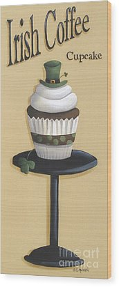 Irish Coffee Cupcake Wood Print by Catherine Holman
