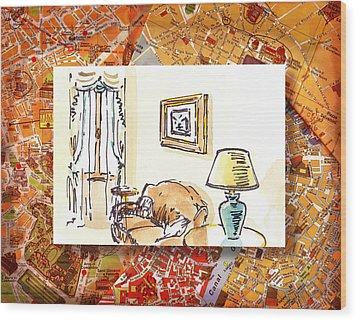 Italy Sketches Venice Hotel Wood Print by Irina Sztukowski