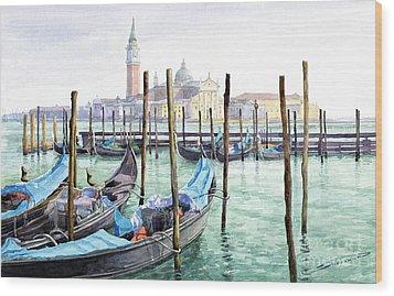 Italy Venice Gondolas Parked Wood Print by Yuriy Shevchuk