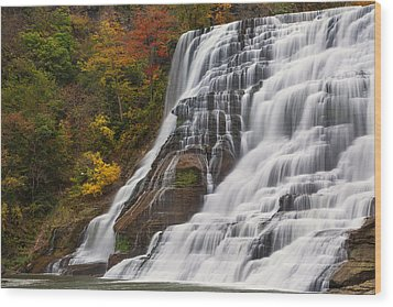 Ithaca Falls In Autumn Wood Print by Michele Steffey