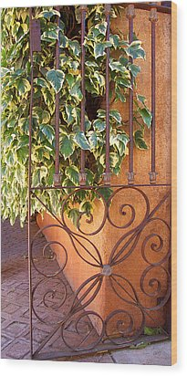 Ivy And Old Iron Gate Wood Print by Ben and Raisa Gertsberg