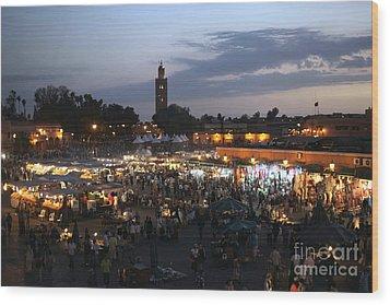 J Ma Fna Place Marrakesh Wood Print by Sophie Vigneault