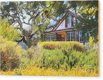 Jack London Countryside Cottage And Garden 5d24570 Wood Print by Wingsdomain Art and Photography
