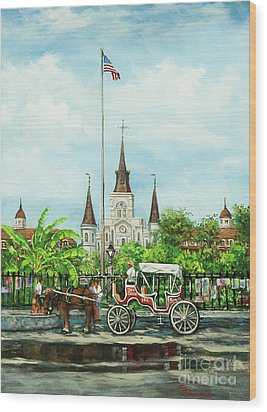 Jackson Square Carriage Wood Print by Dianne Parks