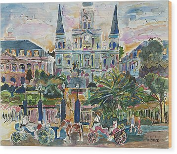 Jackson Square Wood Print by Helen Lee