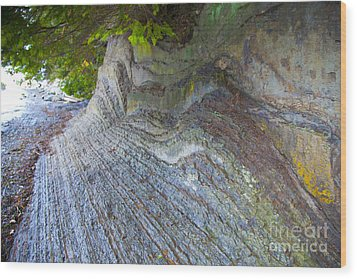 Jagged Rock Wood Print by Graham Foulkes