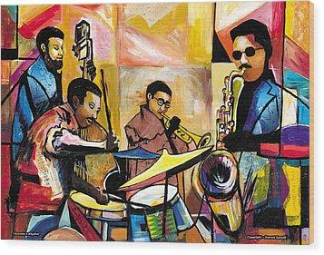 Jammin N Rhythm Wood Print by Everett Spruill