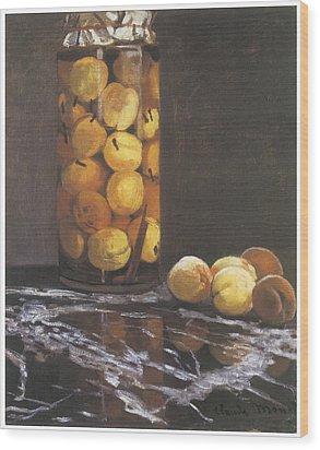 Jar Of Peaches Wood Print by Claude Monet