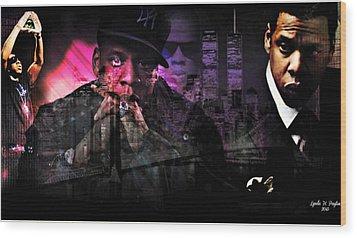 Jay Z Wood Print by Lynda Payton