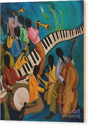 Jazz On Fire Wood Print by Larry Martin