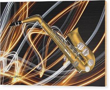 Jazz Saxaphone  Wood Print by Louis Ferreira
