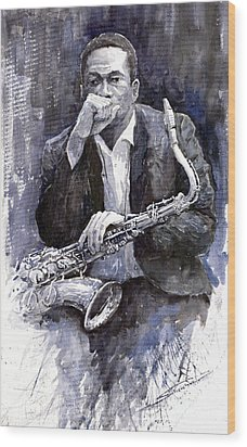 Jazz Saxophonist John Coltrane Black Wood Print by Yuriy  Shevchuk