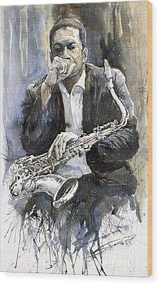 Jazz Saxophonist John Coltrane Yellow Wood Print by Yuriy  Shevchuk