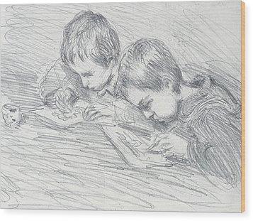Jean Pierre Hoschede And Michel Monet Wood Print by Claude Monet