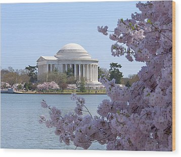 Jefferson Memorial - Cherry Blossoms Wood Print by Mike McGlothlen