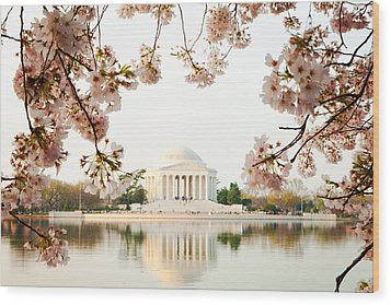 Jefferson Memorial With Reflection And Cherry Blossoms Wood Print by Susan Schmitz