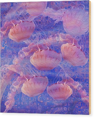 Jellyfish Wood Print by Jack Zulli
