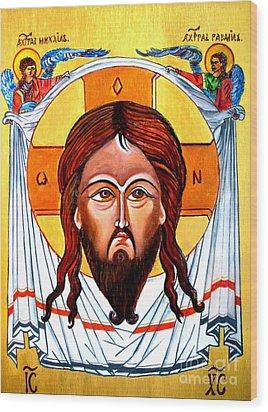 Jesus Christ Mandylion Icon Wood Print by Ryszard Sleczka