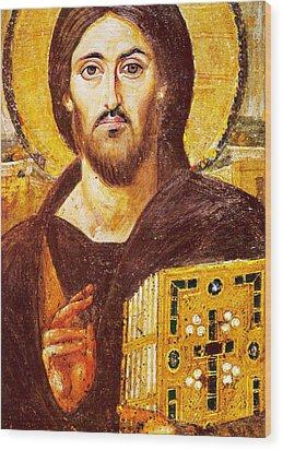 Jesus Icon At Saint Catherine Monastery Wood Print by Munir Alawi