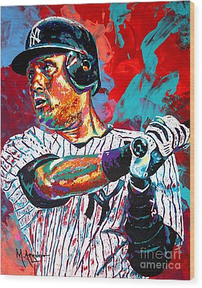 Jeter At Bat Wood Print by Maria Arango