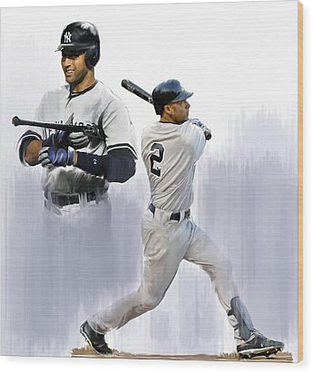 Jeter V Derek Jeter Wood Print by Iconic Images Art Gallery David Pucciarelli