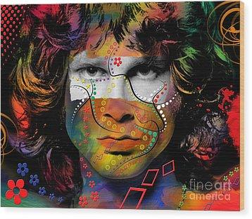 Jim Morrison Wood Print by Mark Ashkenazi