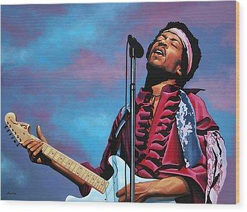 Jimi Hendrix Painting 2 Wood Print by Paul Meijering