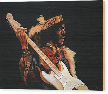 Jimi Hendrix Painting 3 Wood Print by Paul Meijering