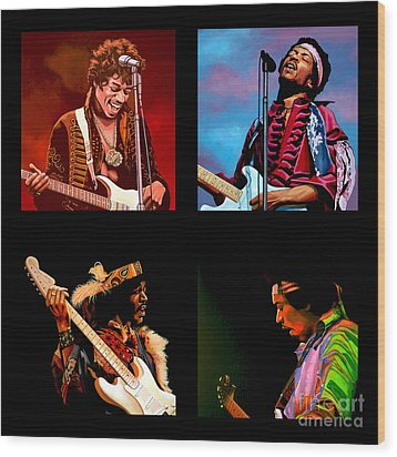 Jimi Hendrix Collection Wood Print by Paul Meijering