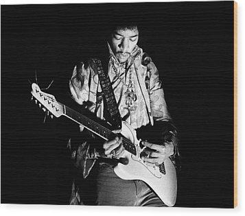 Jimi Hendrix Live 1967 Wood Print by Chris Walter