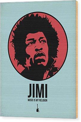 Jimi Poster 2 Wood Print by Naxart Studio