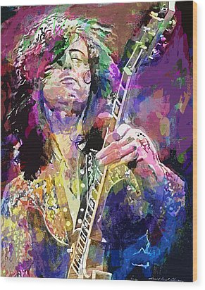 Jimmy Page Electric Wood Print by David Lloyd Glover