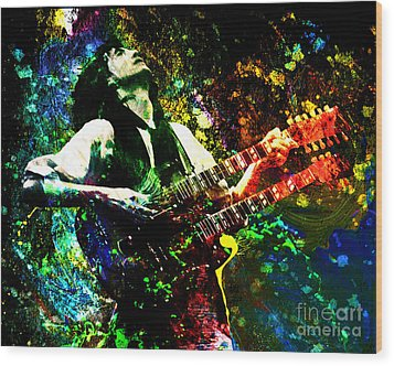 Jimmy Page - Led Zeppelin - Original Painting Print Wood Print by Ryan Rock Artist