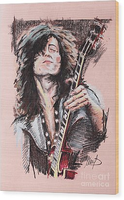 Jimmy Page Wood Print by Melanie D