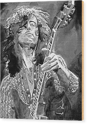 Jimmy Page Mono Wood Print by David Lloyd Glover