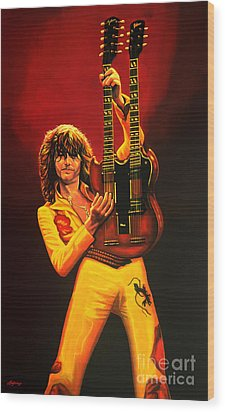 Jimmy Page Painting Wood Print by Paul Meijering