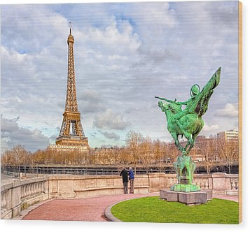 Joan Of Arc And The Eiffel Tower Wood Print by Mark E Tisdale