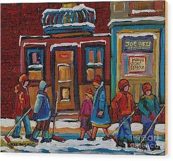 Joe Beef Restaurant And Boys With Hockey Sticks Wood Print by Carole Spandau