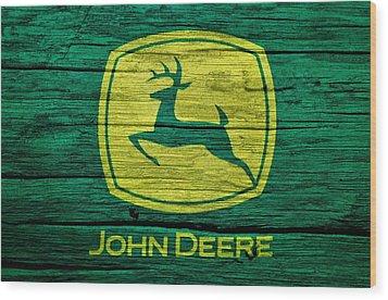 John Deere Barn Door Wood Print by Dan Sproul