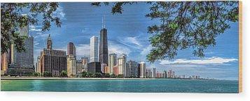 John Hancock Chicago Skyline Panorama Wood Print by Christopher Arndt