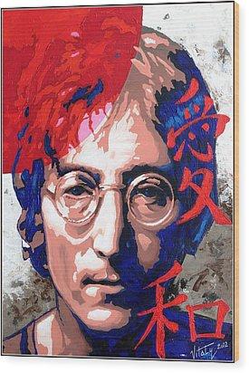John Lennon - A Man Of Peace. The Number Three. Wood Print by Vitaliy Shcherbak