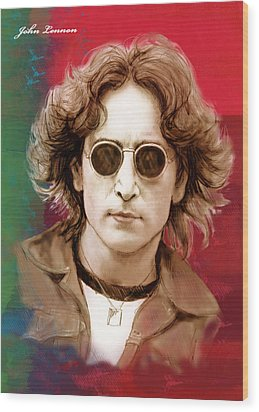 John Lennon Art Stylised Drawing Sketch Poster Wood Print by Kim Wang